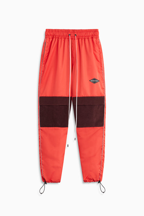 parachute track pant v cargo / red + maroon