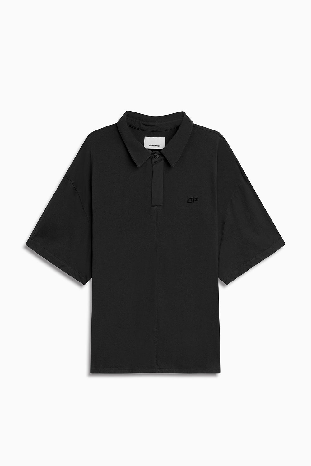 box jersey polo / washed black