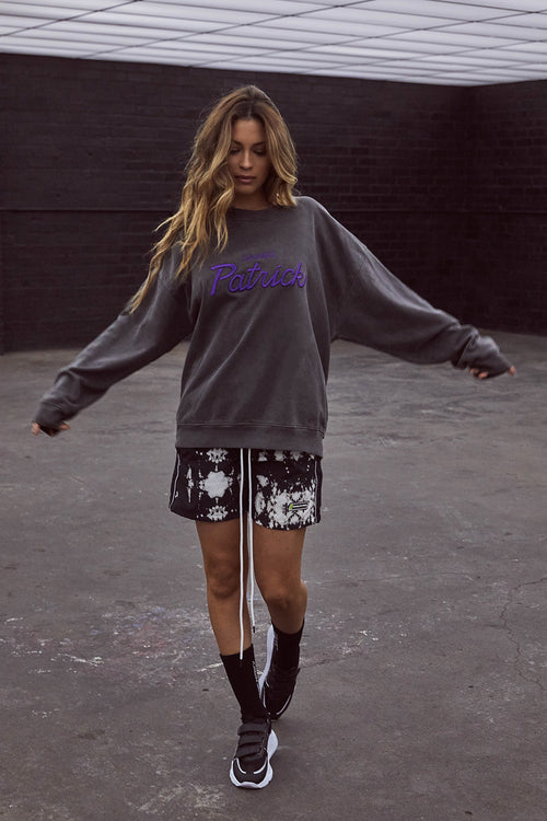 stadium sweatshirt / vintage black + purple