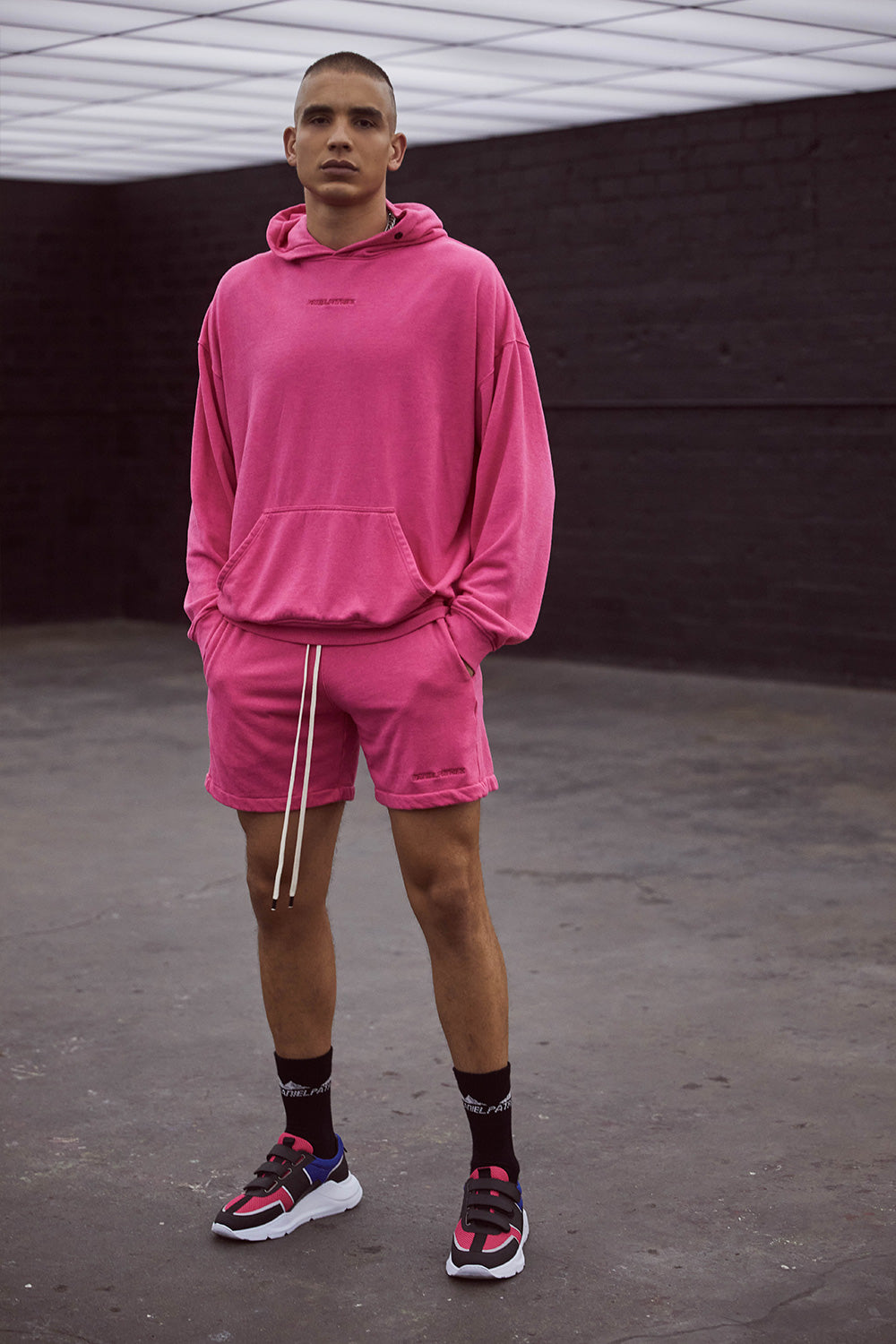 loop terry standard sweatshort / wildflower pink