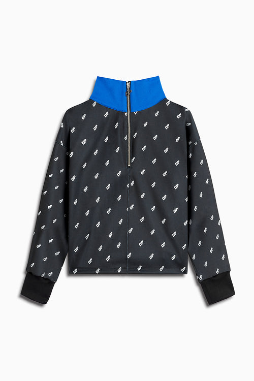 womens crop track top in black/cobalt by daniel patrick