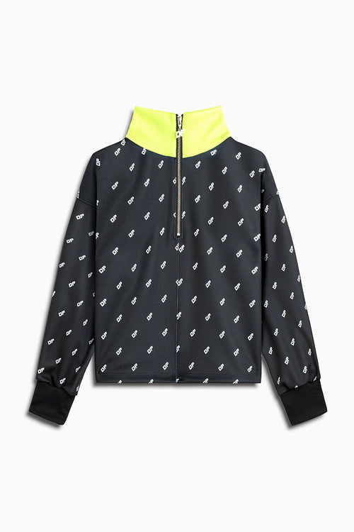 womens crop track top in black/neon yellow by daniel patrick