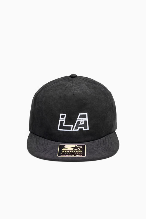 LA 5-panel peach skin snapback / black + white + black