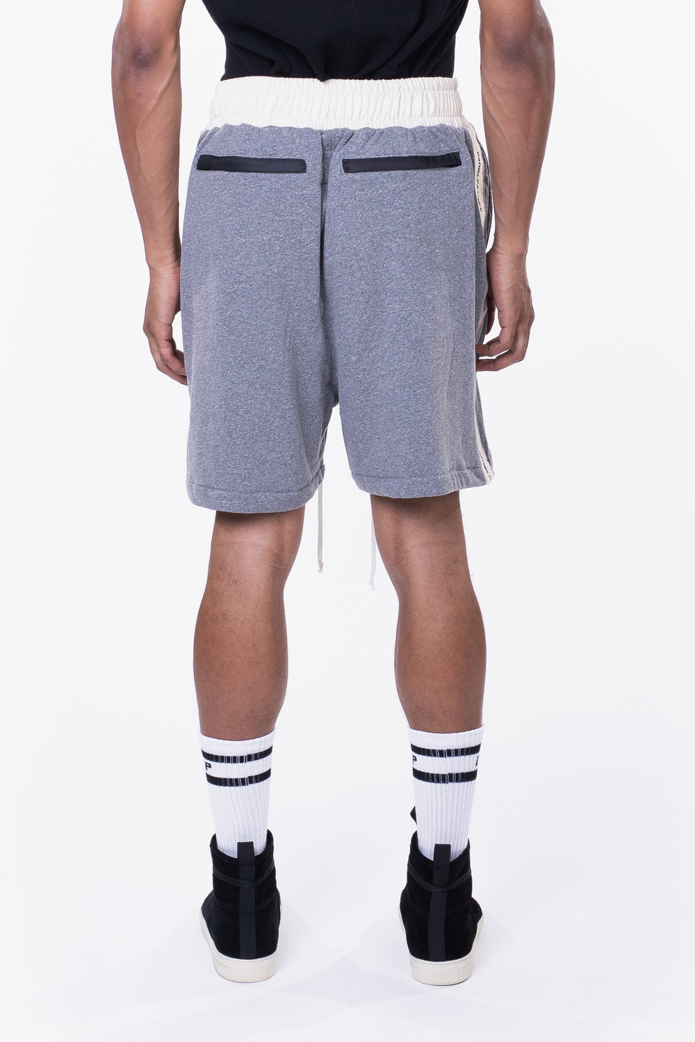 loop terry gym short / heather grey + ivory