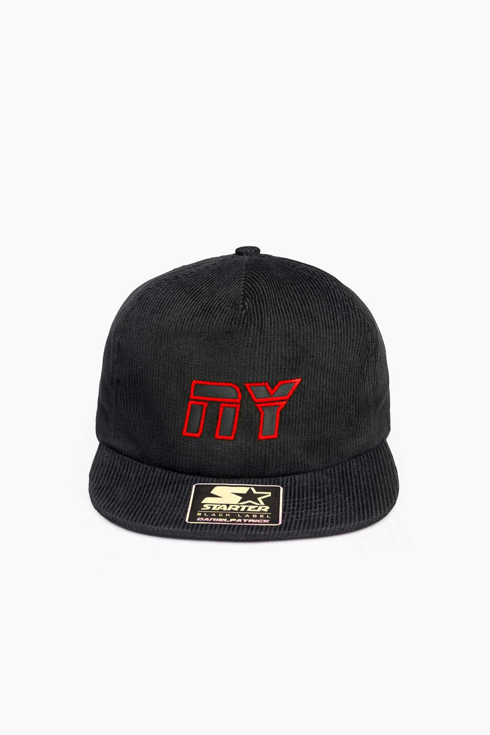 NY 5-panel snapback cord / black + red + black
