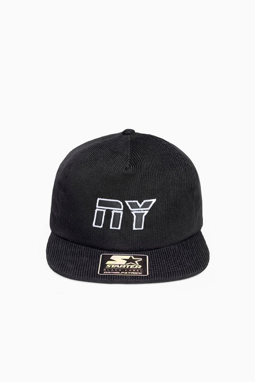 NY 5-panel snapback cord / black + white + black
