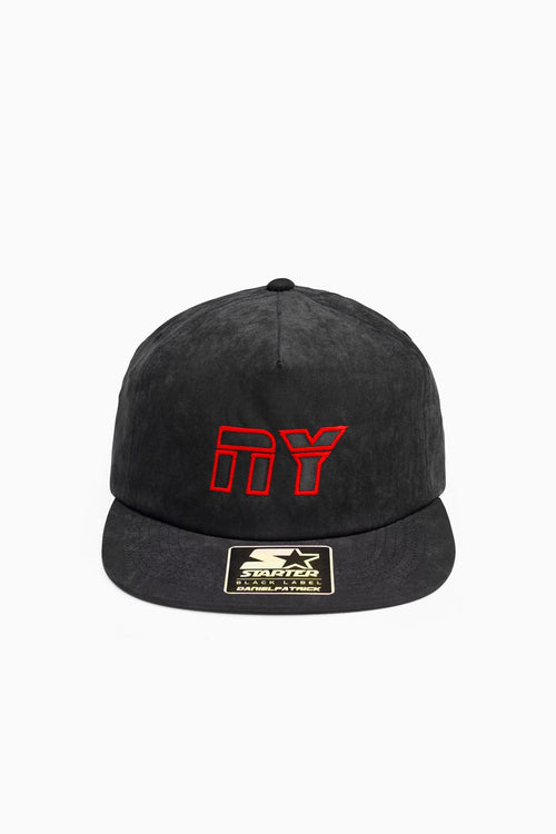 NY 5-panel peach skin snapback / black + red + black
