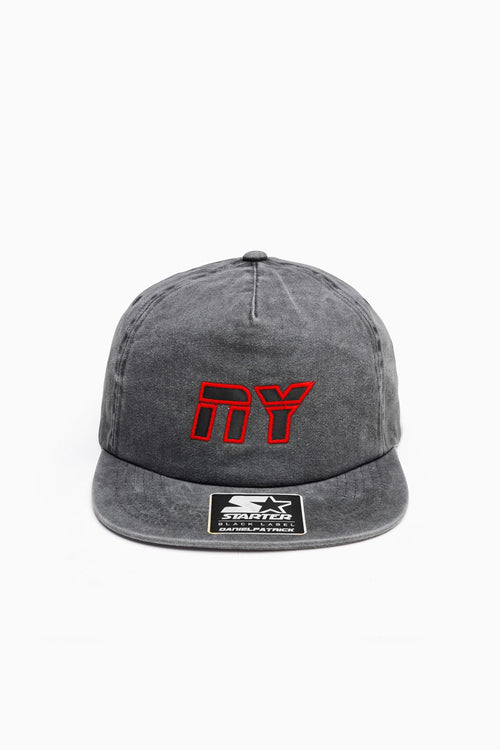 NY 5-panel snapback / vintage black + red + black