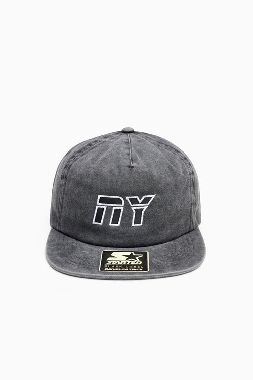 NY 5-panel snapback / vintage black + white + black