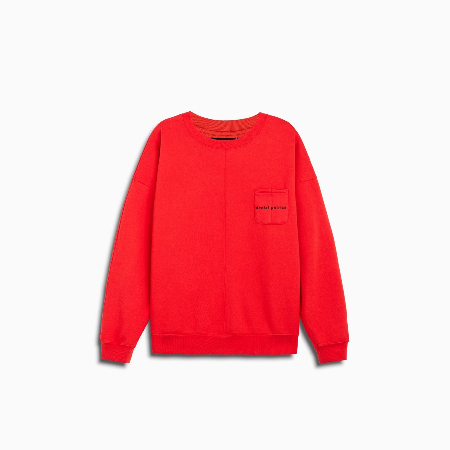 pocket crew sweat / red + black