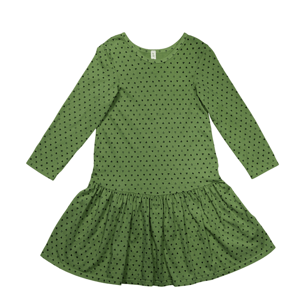 Pink Peony Kids long sleeve dress Olive Green Drop-Waist Dress