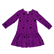 Pink Peony Kids long sleeve dress Purple Drop-Waist Dress