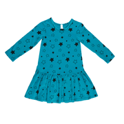 Pink Peony Kids long sleeve dress Teal Drop-Waist Dress