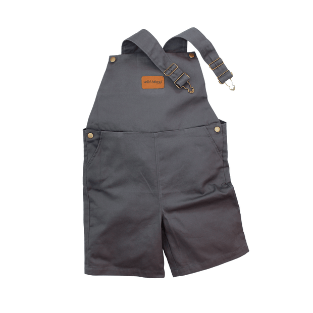 Wild Island Apparal Romper Kids Short Overalls, Blue-Gray