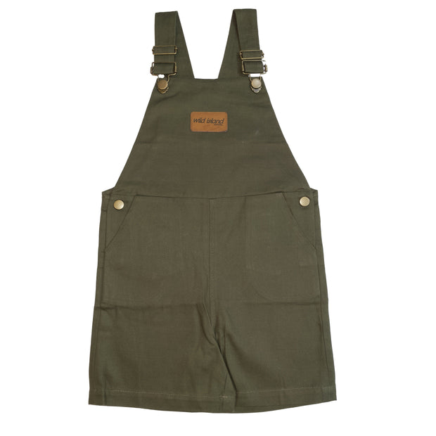 Wild Island Apparal Romper Kids Short Overalls, Olive Green