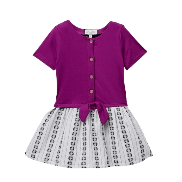 Young and Free short sleeve dress Plum Print Dress