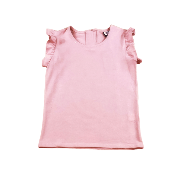 Young and Free sleeveless shirt Blush Pink Ruffle Top