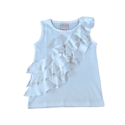 Lemon Loves Lime sleeveless shirt Girls Ruffle Top, White