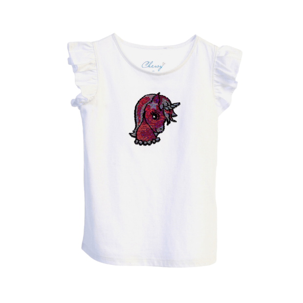 Kid's Dream/Chewy sleeveless shirt Girls Sequin Top, Pink Unicorn