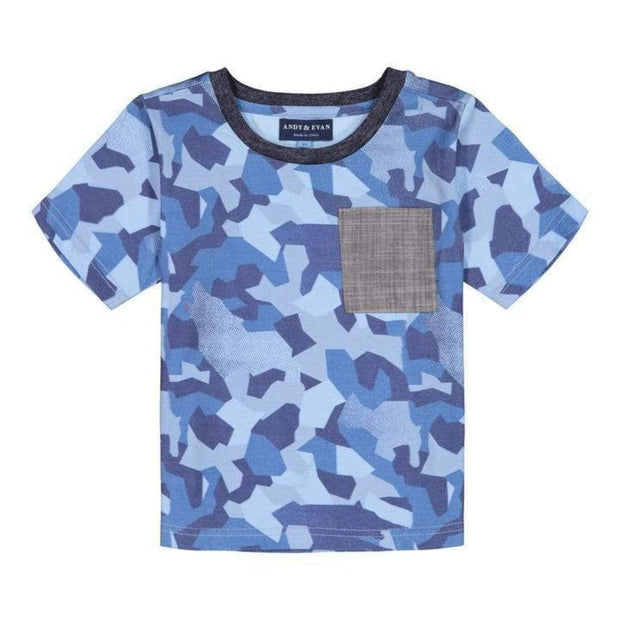 Andy & Evan T-shirt 2T Boys Blue Camo      Shirt