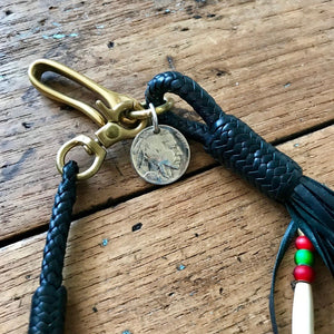 Braided Wallet Leash - Black Kangaroo