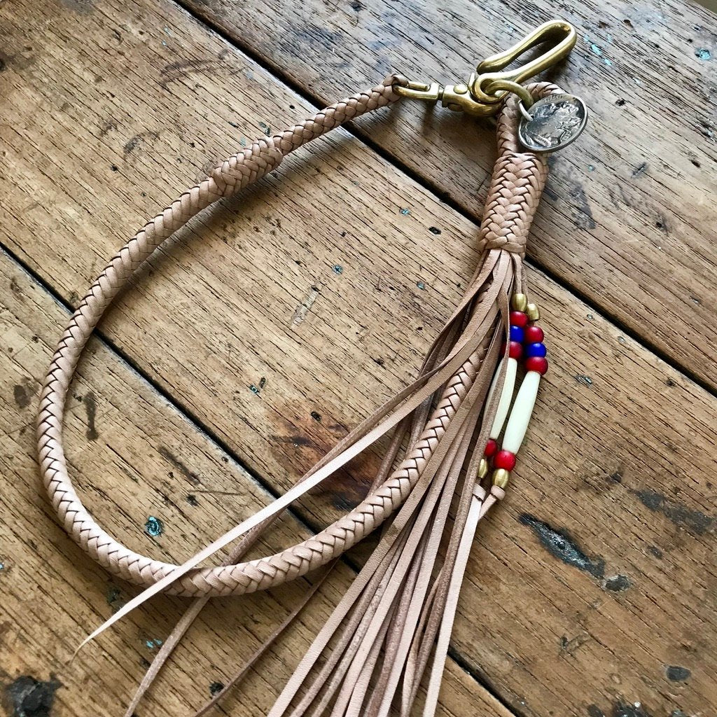 Braided Wallet Leash - Natural Kangaroo