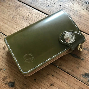 Medium Wallet - Shinki Hikaku Olive Green Shell Cordovan
