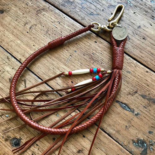 Braided Wallet Leash - Saddle Tan Kangaroo