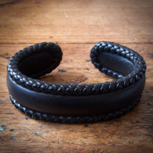 Load image into Gallery viewer, Braided Cuff Bracelet - Black Tärnsjö Veg Tanned