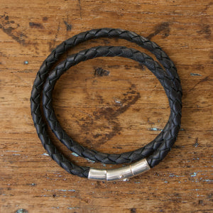 Braided Double Loop Bracelet - Black