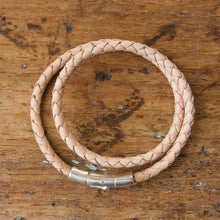 Load image into Gallery viewer, Braided Double Loop Bracelet - Natural Kangaroo