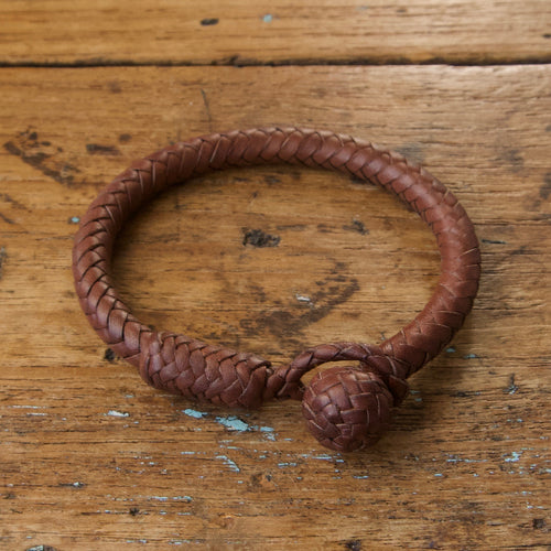 Braided Round Knot Bracelet - Dark Brown Tan Kangaroo