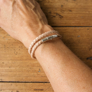 Braided Double Loop Bracelet - Natural Kangaroo