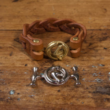 Load image into Gallery viewer, Braided Anchor Buckle Bracelet - Tärnsjö Saddle Tan Veg Tanned