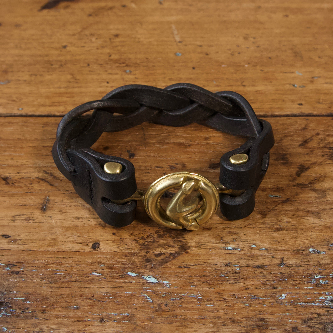 Braided Anchor Buckle Bracelet - Tärnsjö Black Veg Tanned