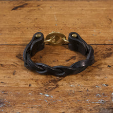 Load image into Gallery viewer, Braided Anchor Buckle Bracelet - Tärnsjö Black Veg Tanned