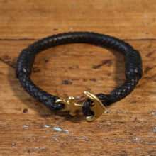 Load image into Gallery viewer, Braided Anchor Good Luck Charm Bracelet - Black Kangaroo