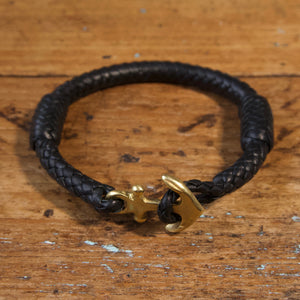 Braided Anchor Good Luck Charm Bracelet - Black Kangaroo