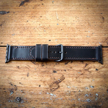 Load image into Gallery viewer, Watch Strap - Apple iWatch - Horween Black Chromexcel - Brown Thread