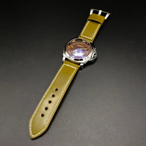 Watch Strap - Shinki-Hikaku Olive Green Shell Cordovan