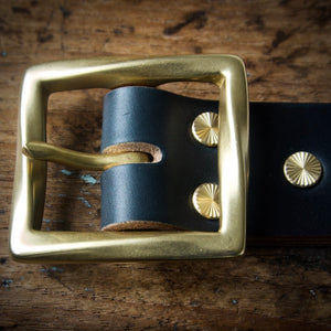 Belt - Horween Chromexcel Navy Blue - Your Choice of Solid Brass Buckle