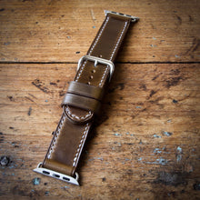 Load image into Gallery viewer, Watch Strap - Apple iWatch - Horween Olive Green Chromexcel - White Thread