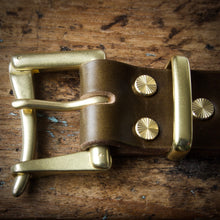 Load image into Gallery viewer, Belt - Horween Chromexcel Olive Green - Your Choice of Solid Brass Buckle
