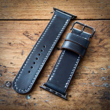 Load image into Gallery viewer, Watch Strap - Apple iWatch - Horween Navy Blue Chromexcel - White Thread