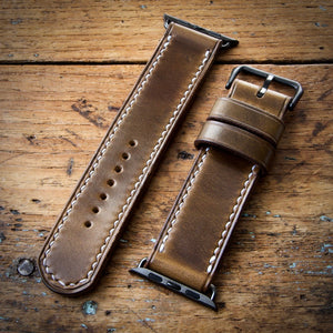 Watch Strap - Apple iWatch - Horween Olive Green Chromexcel - White Thread