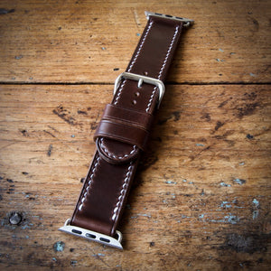 Watch Strap - Apple iWatch - Horween Brown Chromexcel - White Thread