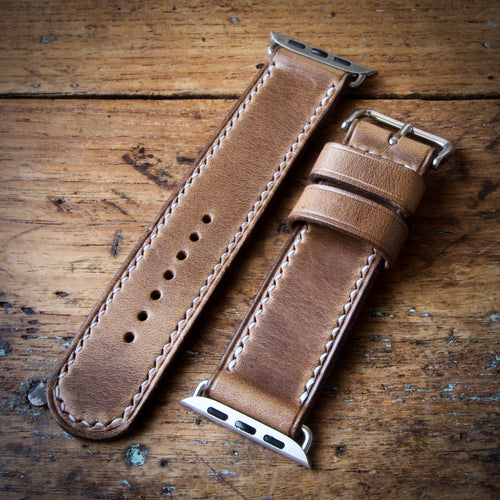 Watch Strap - Apple iWatch - Horween Natural Chromexcel - White Thread