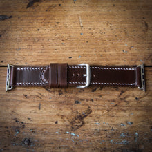 Load image into Gallery viewer, Watch Strap - Apple iWatch - Horween Brown Chromexcel - White Thread