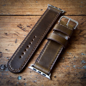 Watch Strap - Apple iWatch - Horween Olive Green Chromexcel - Brown Thread