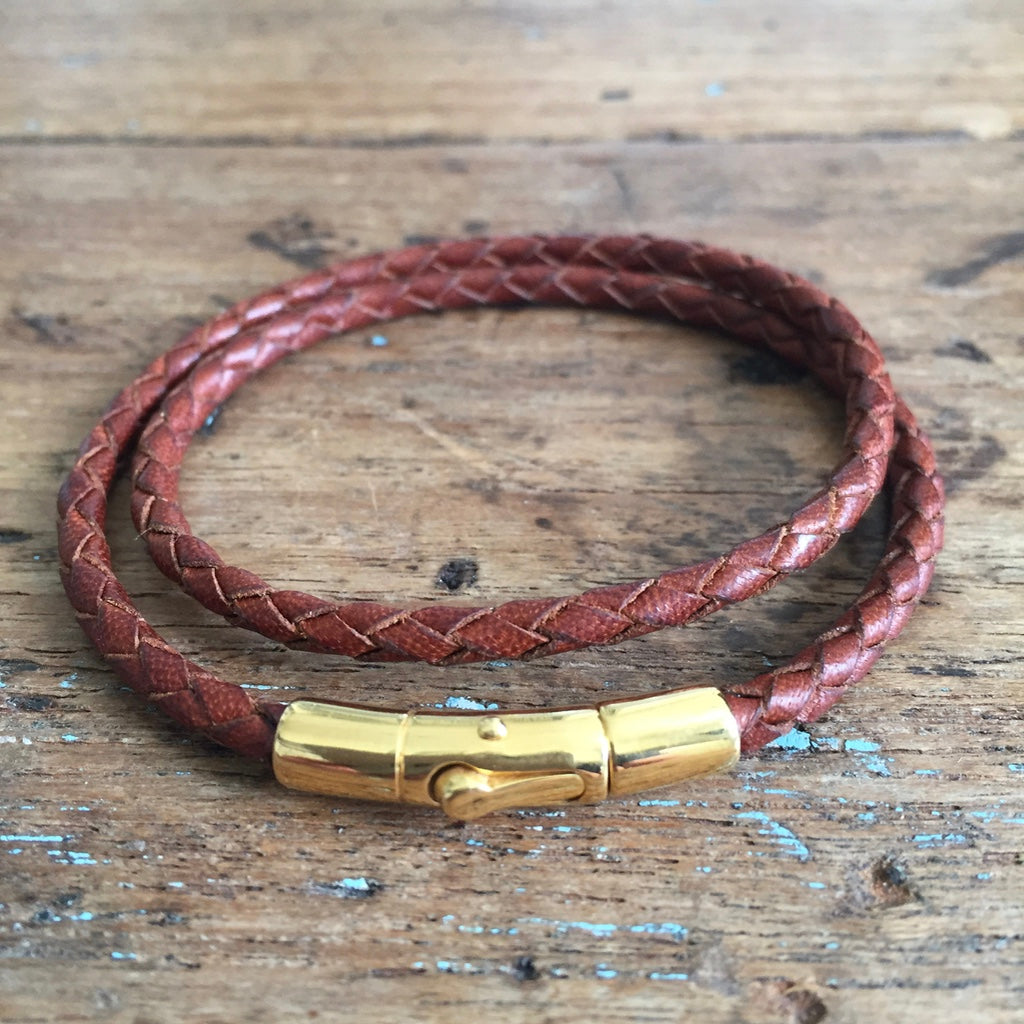 Braided Double Loop Bracelet - Saddle Tan Kangaroo